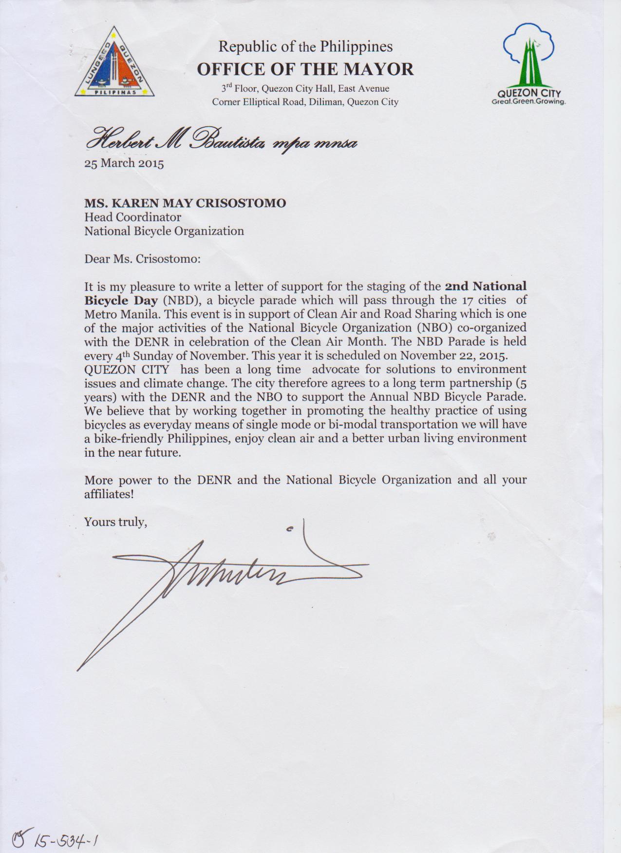 Letter of Support NBD - Mayor Herbert