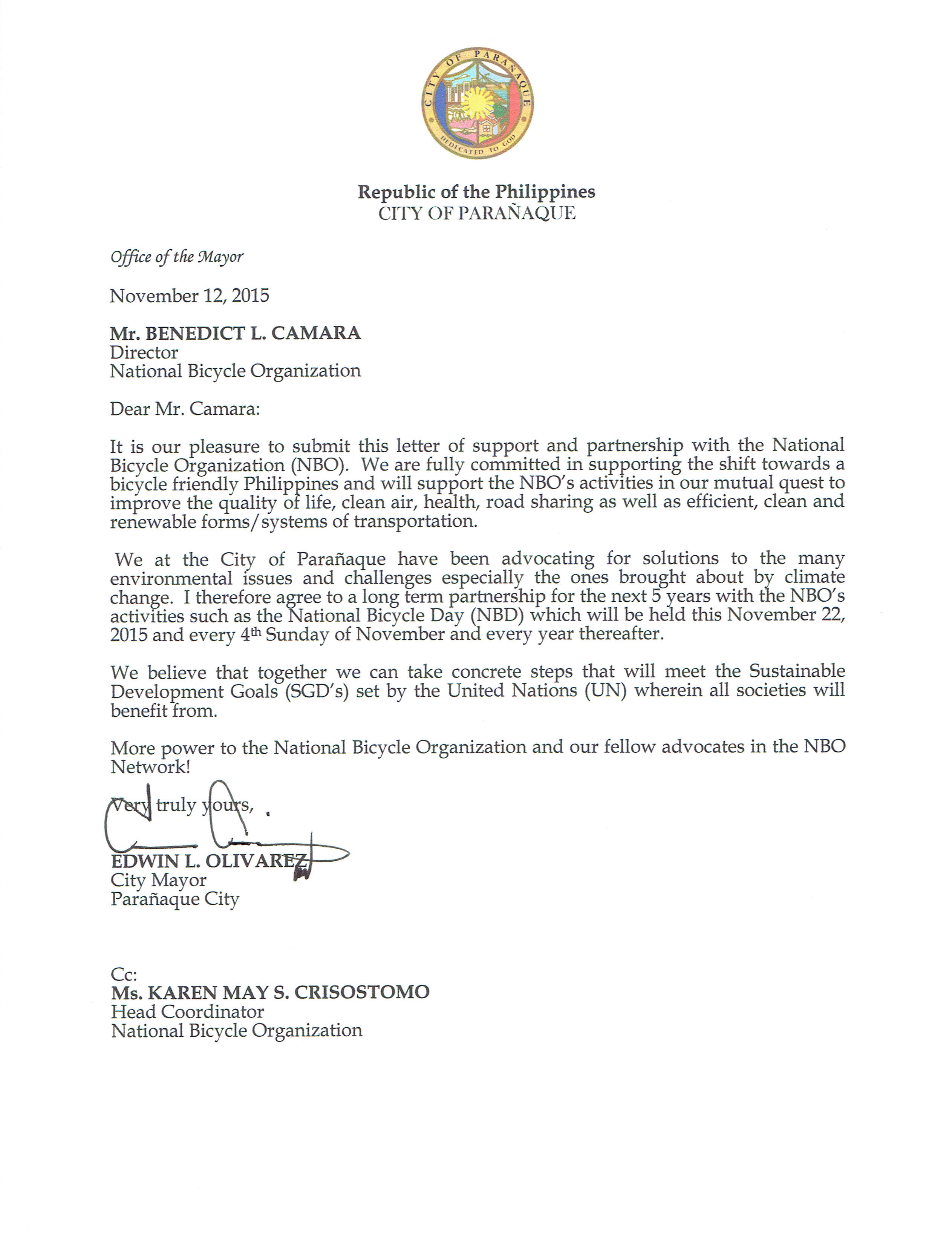 letter of support from paranaque